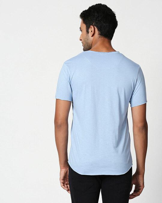 Shop Pastel Sky Blue Raw Edge Halfsleeve T-Shirt-Design