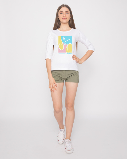 Shop Pastel Stay Chill 3/4th Sleeve T-Shirt-Full