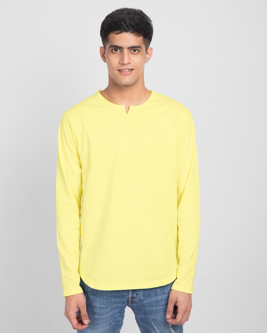 Shop Pastel Yellow Slit Neck Full Sleeve Henley T-Shirt-Front