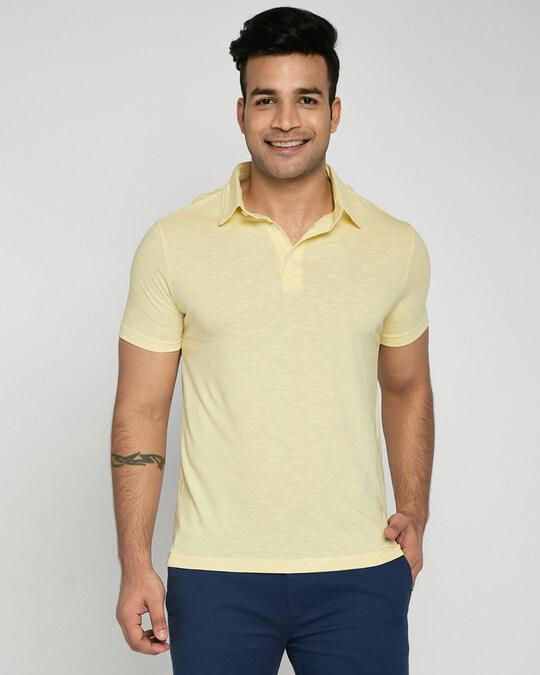 Shop Pastel Yellow Slub Polo-Front