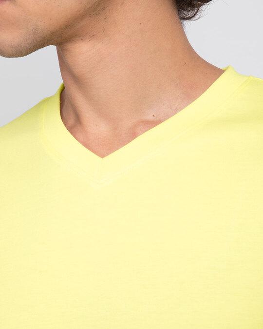 Shop Pastel Yellow V-Neck Full Sleeve T-Shirt