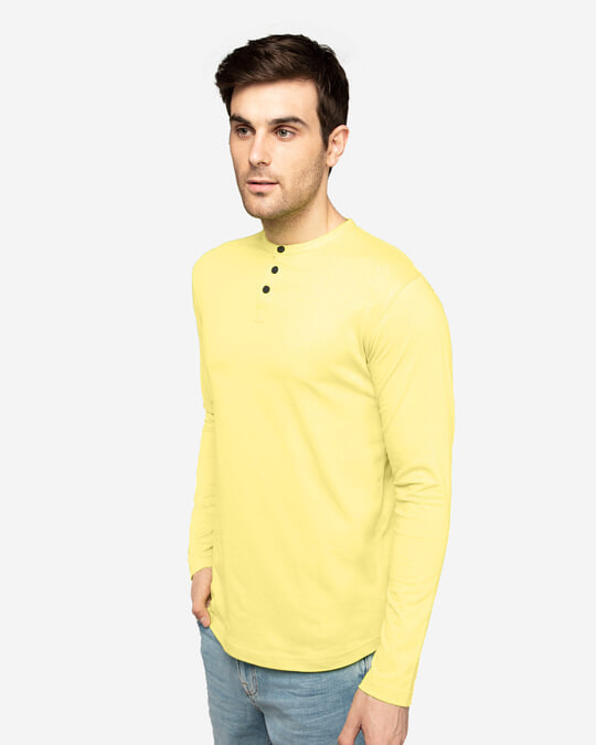 Shop Pastle Yellow Full Sleeve Henley T-Shirt-Back
