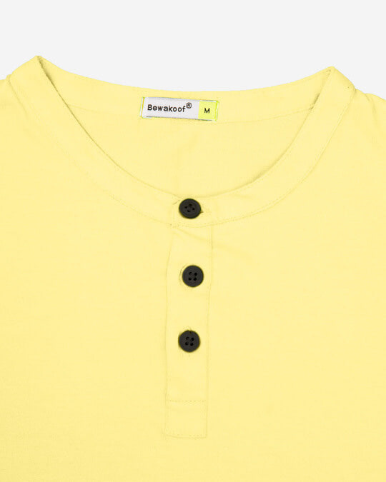 Shop Pastle Yellow Full Sleeve Henley T-Shirt