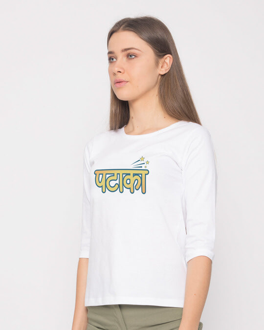 Shop Patakha Round Neck 3/4th Sleeve T-Shirt-Back