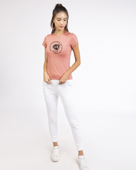 Shop Patriarchy People Half Sleeve Printed T-Shirt Misty Pink-Design