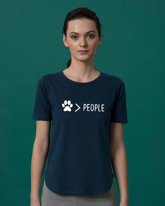 Shop Paw Over People Basic Round Hem T-Shirt-Front