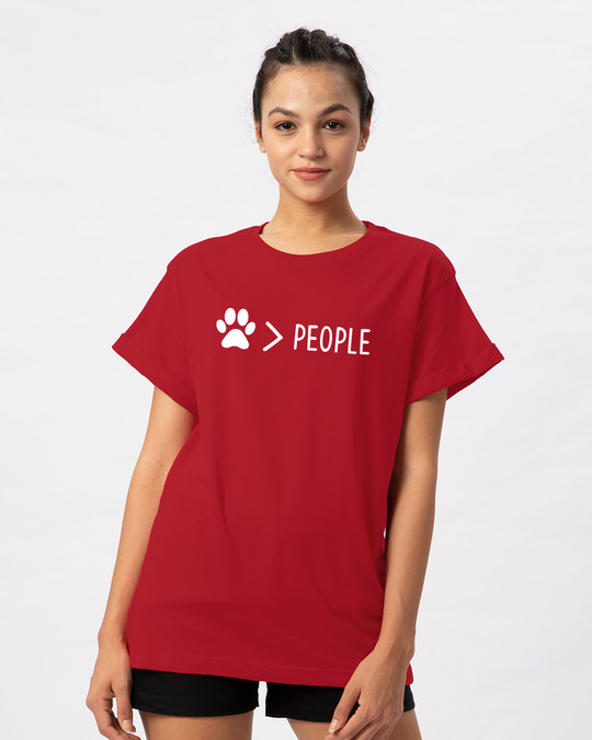 Shop Paw Over People Boyfriend T-Shirt-Front