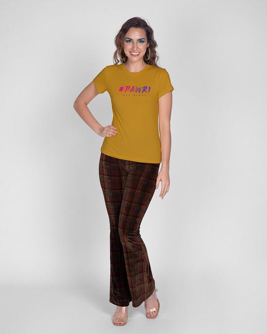 Shop Pawri All Night Half Sleeve Printed T-Shirt Mustard Yellow -Full