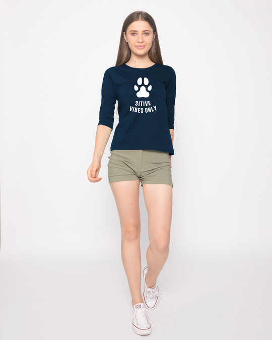 Shop Pawsitive Only Round Neck 3/4th Sleeve T-Shirt-Full