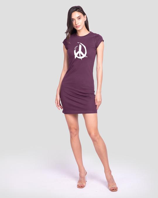 Shop Peace Brush Stroke Cap Sleeve T-Shirt Dress-Full