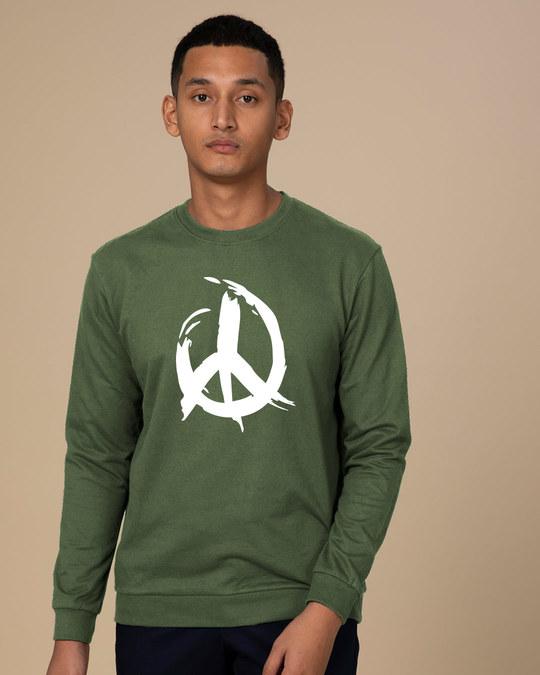 Shop Peace Brush Stroke Crew Neck Fleece Light Sweatshirt-Front