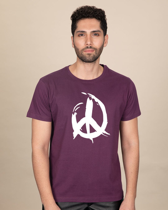 Shop Peace Brush Stroke Half Sleeve T-Shirt-Back