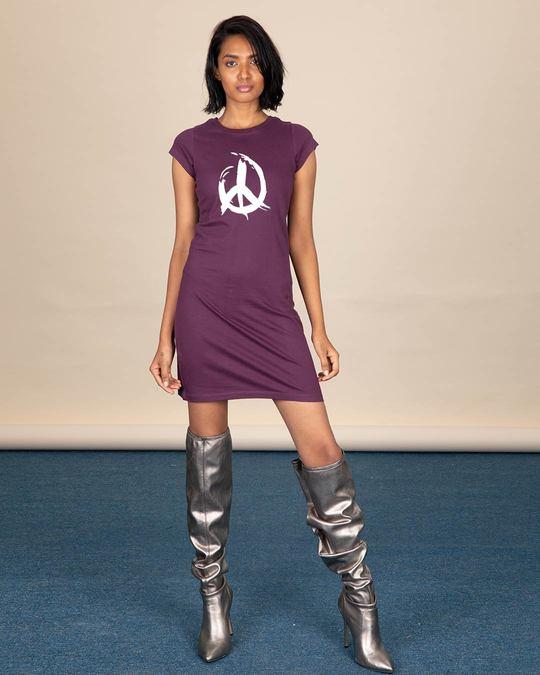 Shop Peace Brush Stroke Cap Sleeve T-Shirt Dress-Design