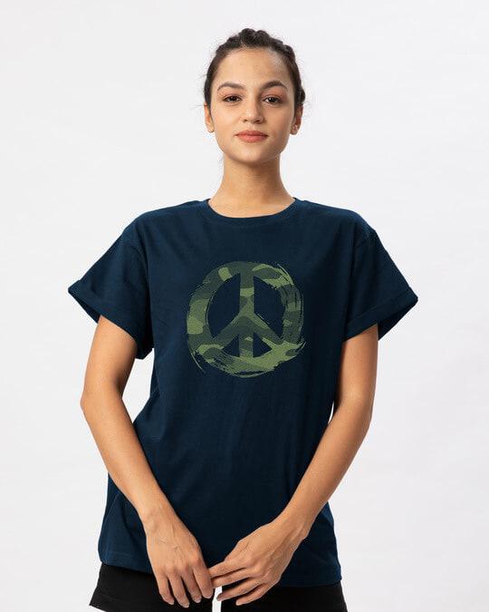 Shop Peace Camouflage Boyfriend T-Shirt-Front