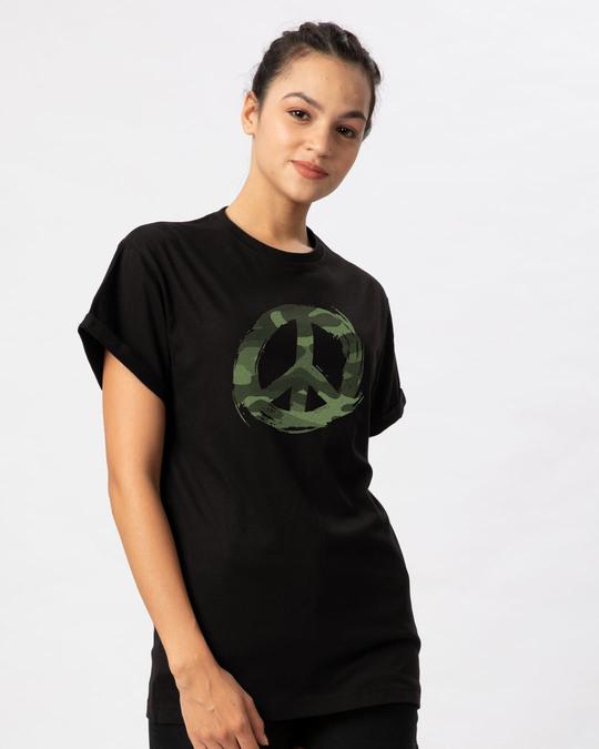 Shop Peace Camouflage Boyfriend T-Shirt-Back