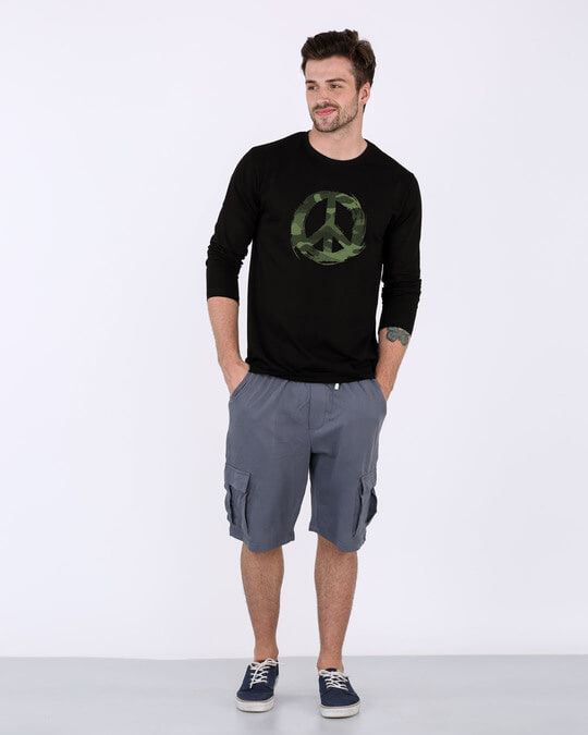 Shop Peace Camouflage Full Sleeve T-Shirt