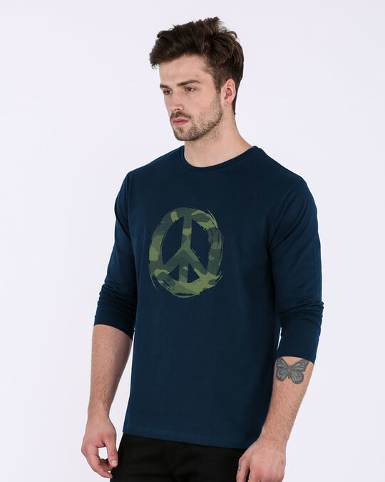Shop Peace Camouflage Full Sleeve T-Shirt-Back