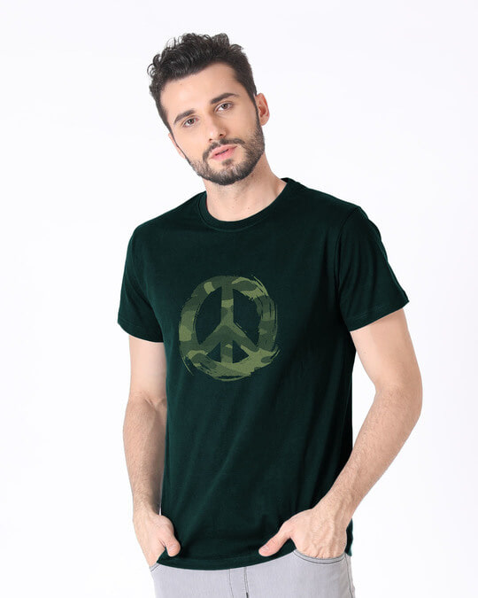 Shop Peace Camouflage Half Sleeve T-Shirt-Full
