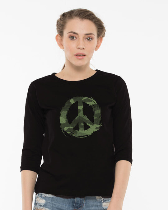 Shop Peace Camouflage Round Neck 3/4th Sleeve T-Shirt-Front