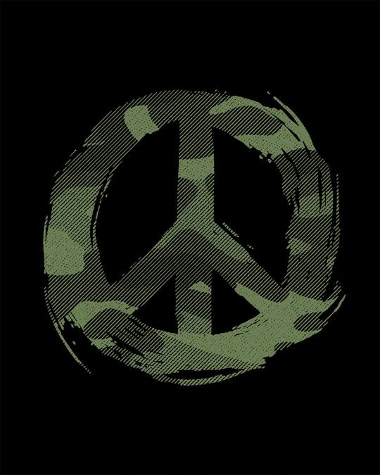 Shop Peace Camouflage Round Neck 3/4th Sleeve T-Shirt