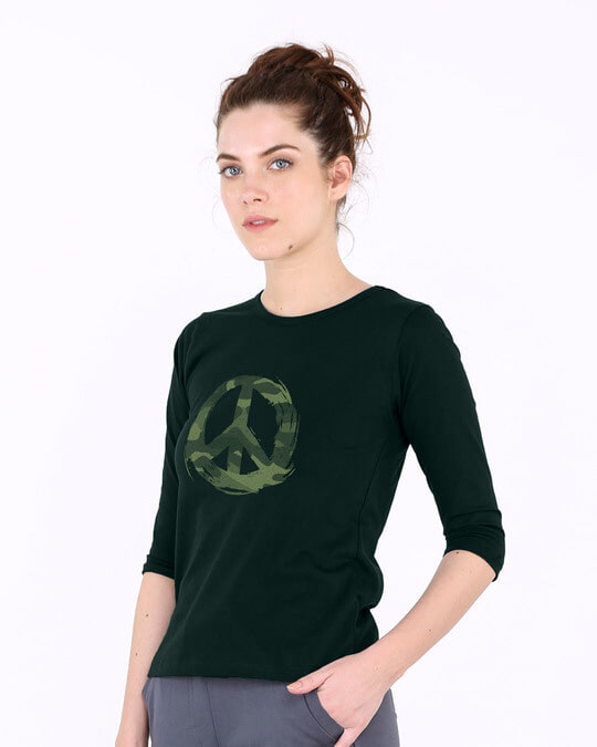 Shop Peace Camouflage Round Neck 3/4th Sleeve T-Shirt-Back