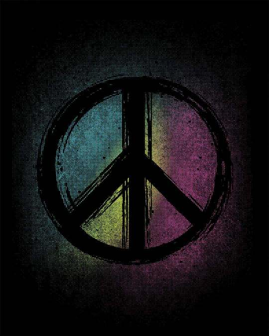 Shop Peace Colors Round Neck 3/4th Sleeve T-Shirt