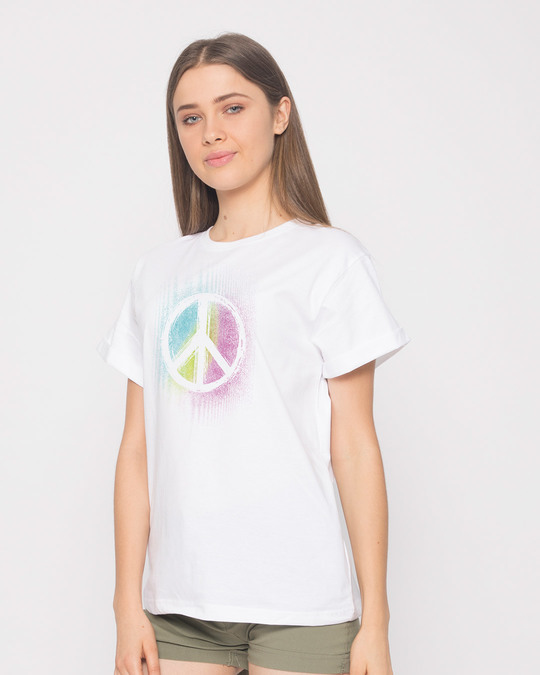 Shop Peace Colors Boyfriend T-Shirt-Back
