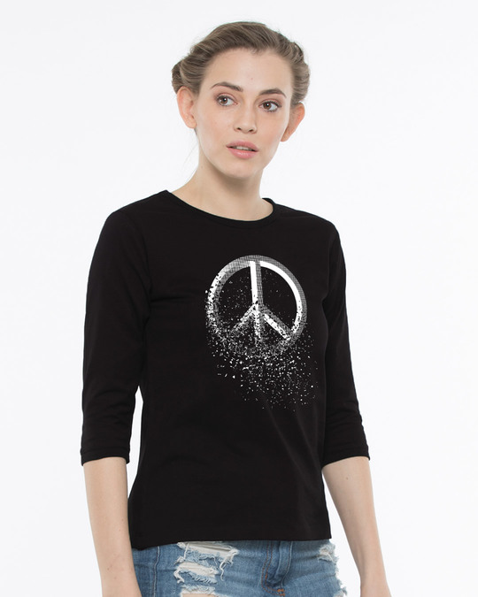 Shop Peace Dispersion Round Neck 3/4th Sleeve T-Shirt-Back