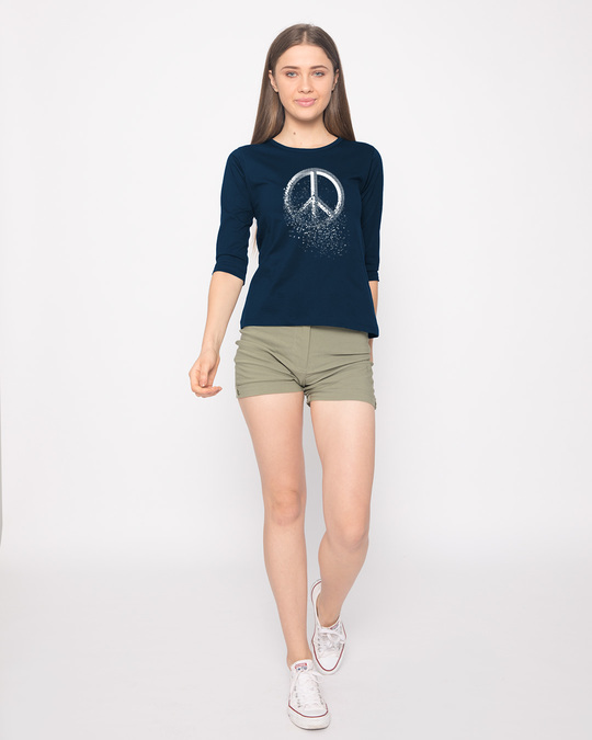 Shop Peace Dispersion Round Neck 3/4th Sleeve T-Shirt