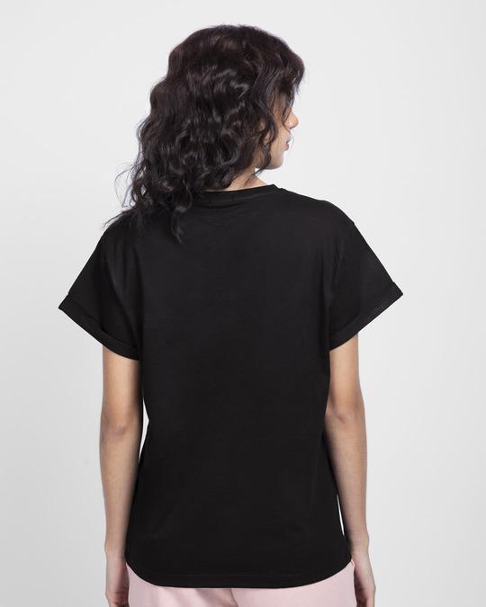 Shop Peace Floral Boyfriend T-Shirt Black-Back