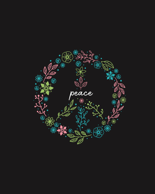 Shop Peace Floral Boyfriend T-Shirt Black-Full