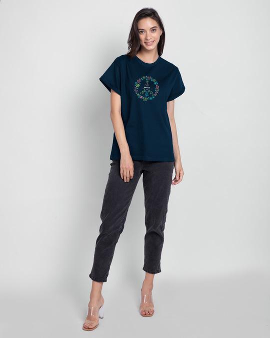 Shop Peace Floral Boyfriend T-Shirt Navy Blue-Design