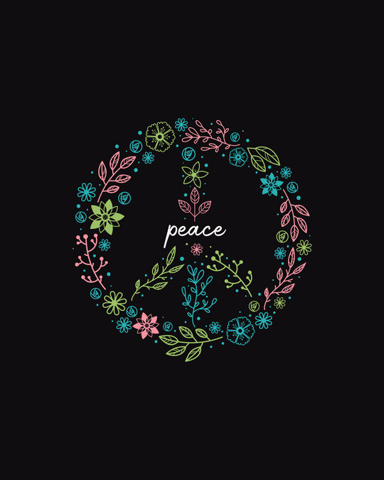 Shop Peace Floral Half Sleeve T-Shirt Black-Full