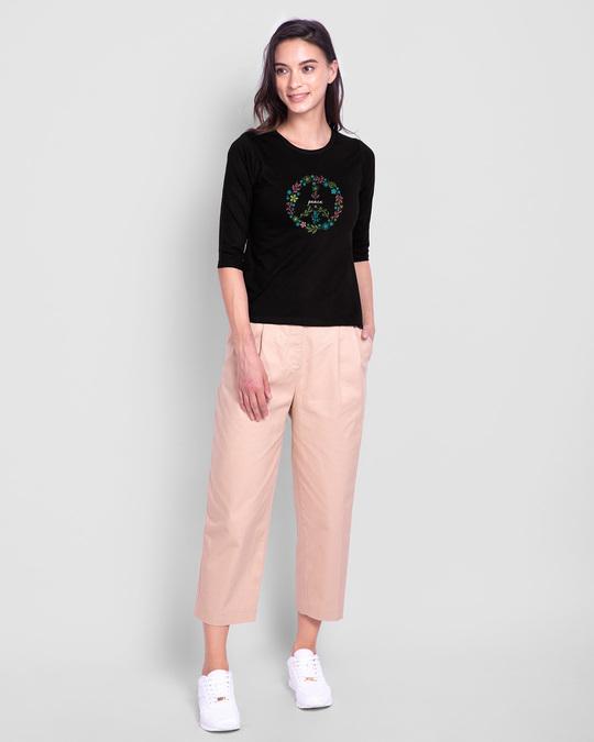 Shop Peace Floral Round Neck 3/4th Sleeve T-Shirt Black-Design