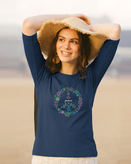 Shop Peace Floral Round Neck 3/4th Sleeve T-Shirt Navy Blue-Front