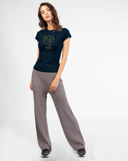 Shop Peace Gold Half Sleeve T-Shirt Navy Blue-Full