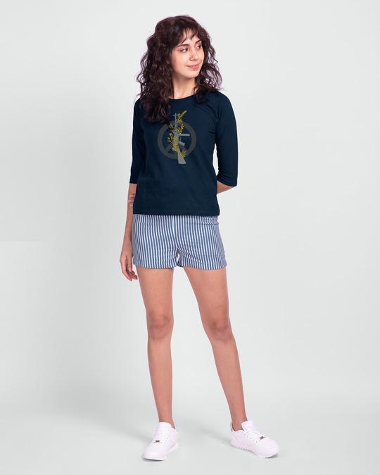 Shop Peace Gun Flower Round Neck 3/4th Sleeve T-Shirt-Full