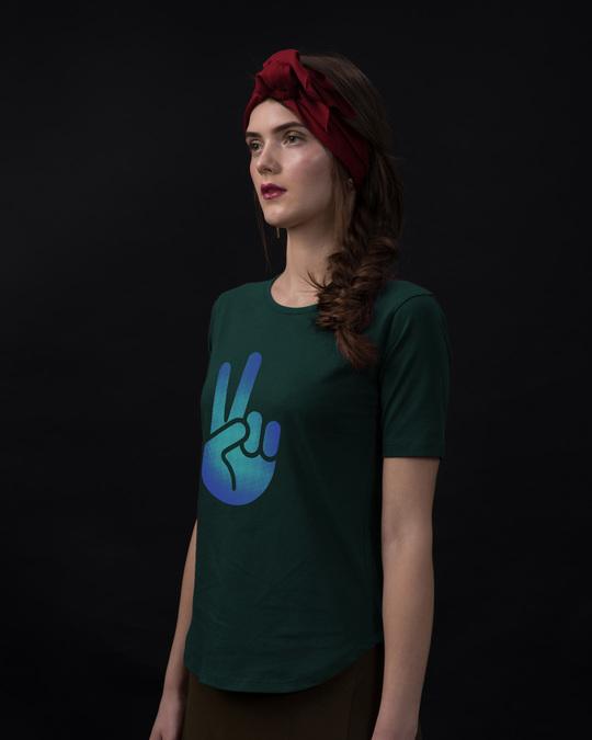 Shop Peace Hand Colorful Basic Round Hem T-Shirt-Back