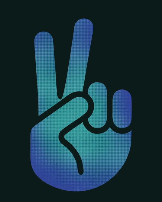 Shop Peace Hand Colorful Basic Round Hem T-Shirt
