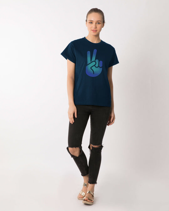 Shop Peace Hand Colorful Boyfriend T-Shirt