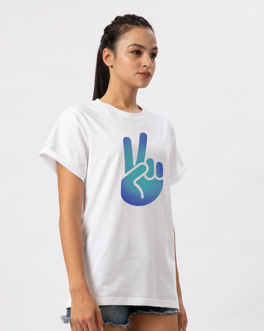 Shop Peace Hand Colorful Boyfriend T-Shirt-Back