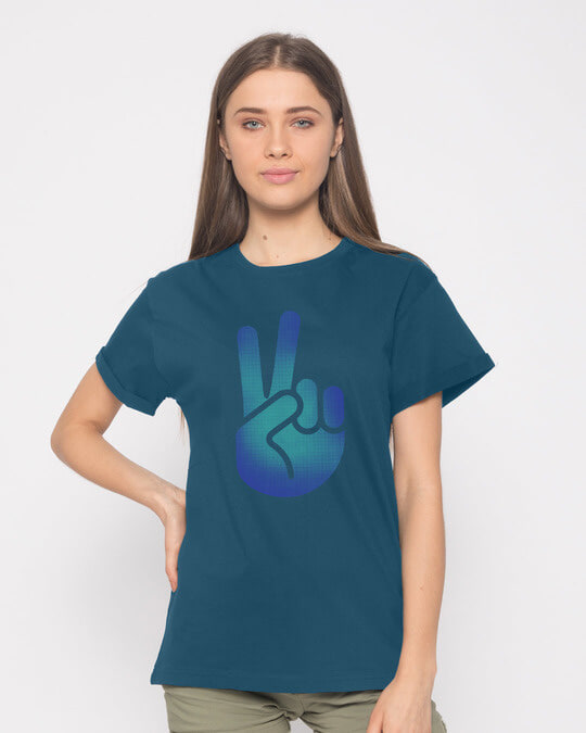 Shop Peace Hand Colorful Boyfriend T-Shirt-Front
