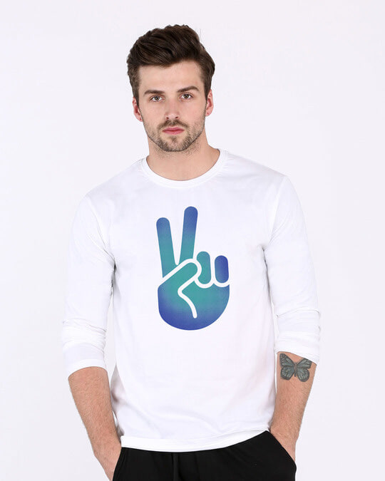 Shop Peace Hand Colorful Full Sleeve T-Shirt-Front