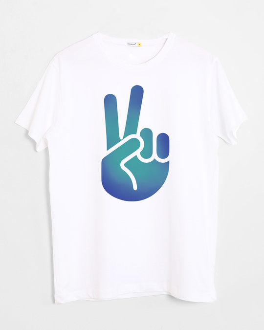 Shop Peace Hand Colorful Half Sleeve T-Shirt-Front