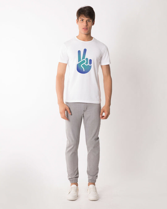 Shop Peace Hand Colorful Half Sleeve T-Shirt