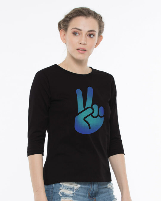 Shop Peace Hand Colorful Round Neck 3/4th Sleeve T-Shirt-Back