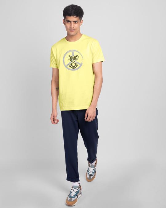 Shop Peace Jerry Half Sleeve T-Shirt (TJL) Pastel Yellow-Design