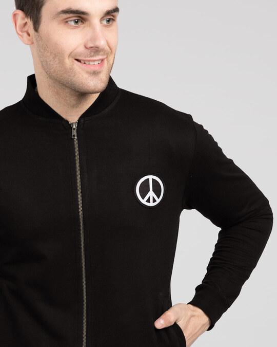 Shop Peace Logo Badge Zipper Bomber Jacket-Front