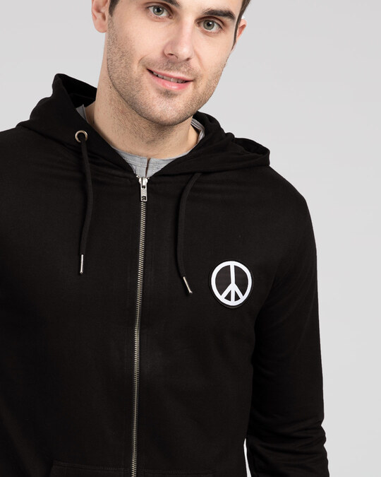 Shop Peace Logo Badge Zipper Hoodie-Front