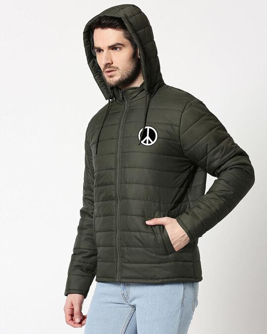 Shop Peace Logo Puffer Jacket with Detachable Hood-Back